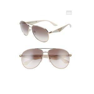Prada Sunglasses Gold Frame White Sides Aviators